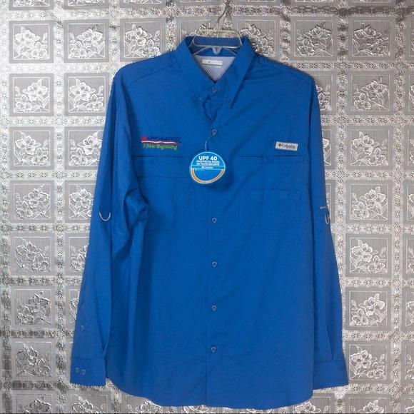 NWT Columbia Blue Tamiami II LS Shirt Size XL